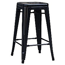 Set of 4x 66cm Tolix Retro Reproduction Cafe Bar Stools - Black