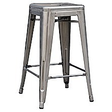 Set of 4x 66cm Tolix Retro Reproduction Cafe Bar Stools - Metal Galvanised