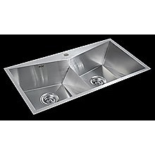 850x450mm Handmade Stainless Steel Sink with Waste and Drain Plug - Topmount only