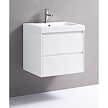 600mm Wall Hung Bathroom Vanity Unit With Polyurethane Finish, Poly Marble Basin - Della Francesca
