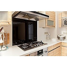 Toughened 90 x 75cm Black Glass Kitchen Splashback