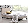 Single Bed Frame Beige Linen Fabric