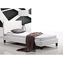 Single Bed Frame White PU Leather