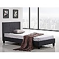 Single Bed Frame Grey Linen Fabric