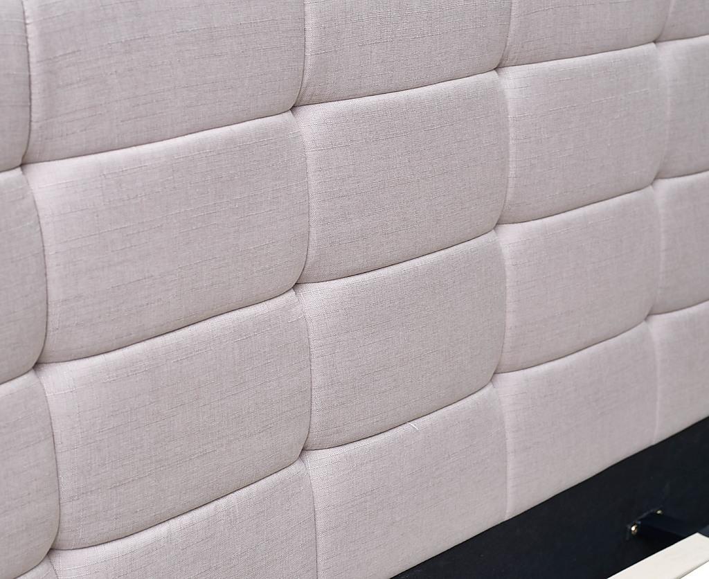 King Beige Linen Fabric Deluxe Bed Frame