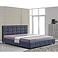 King Grey Linen Fabric Deluxe Bed Frame