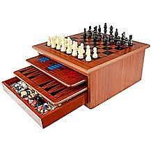 10 in 1 Wooden Chess Board Games Slide Out Checkers House Unit Set