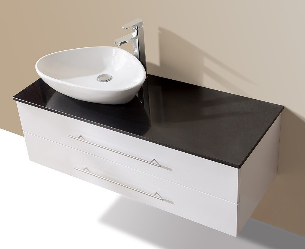 1200mm wall hung bathroom vanity unit with stone top basin della francesca diy renovation - Marble vanity units ...