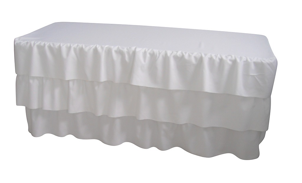 6 foot 3 tier pleated white table cloth trestle cover home rh factoryfast com au