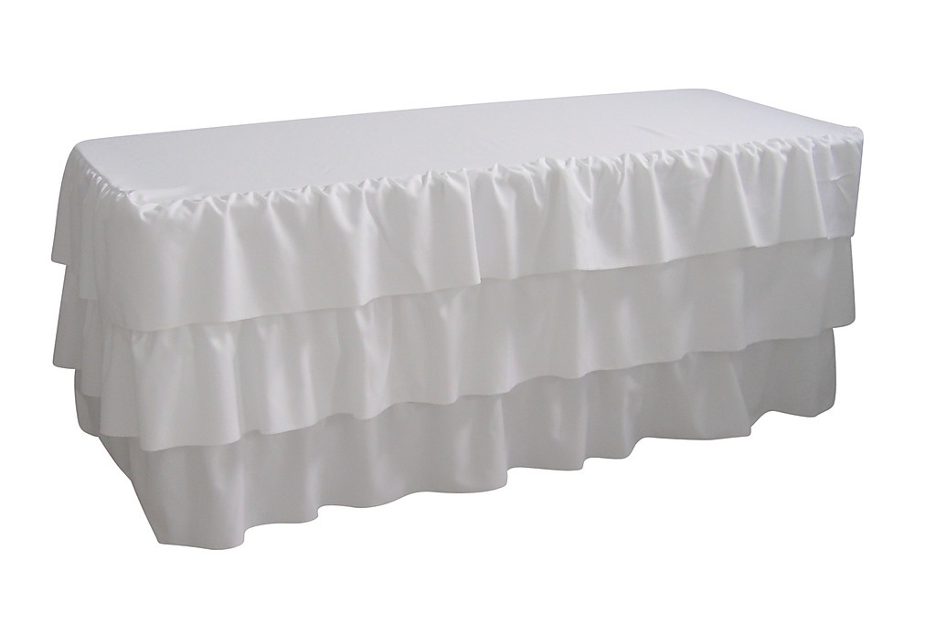 6 Foot 3 Tier Pleated White Table Cloth Trestle Cover