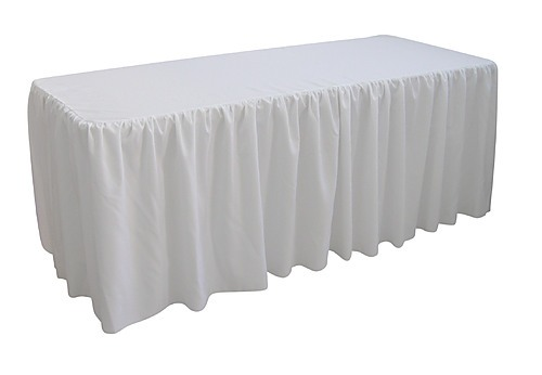 6 Foot Gathered White Table Cloth Trestle Cover Home