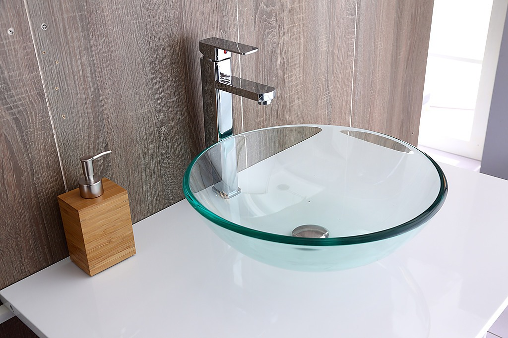 12mm tempered glass counter top basin for Tempered glass bathroom countertop
