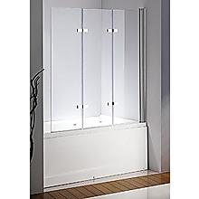 3 Fold Chrome Folding Bath Shower Screen Door Panel - 130 x 140cm Right