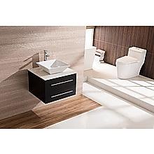 600mm Wall Hung Bathroom Vanity Unit With Stone Top, Basin - Della Francesca