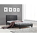 King Single Bed Frame Black PU Leather