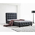 King Single Black PU Leather Deluxe Bed Frame