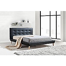 Double PU Leather Deluxe Bed Frame - Black