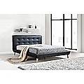 Queen PU Leather Deluxe Bed Frame - Black