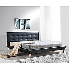 King PU Leather Deluxe Bed Frame Black