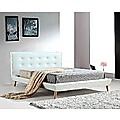Double PU Leather Deluxe Bed Frame - White