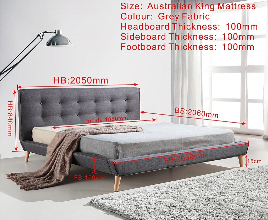 King Linen Fabric Deluxe Bed Frame Grey - Furniture > Bed Frames ...