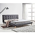 King Linen Fabric Bed with Button Tufted Headboard - Grey