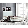 King Single Bed Frame White PU Leather