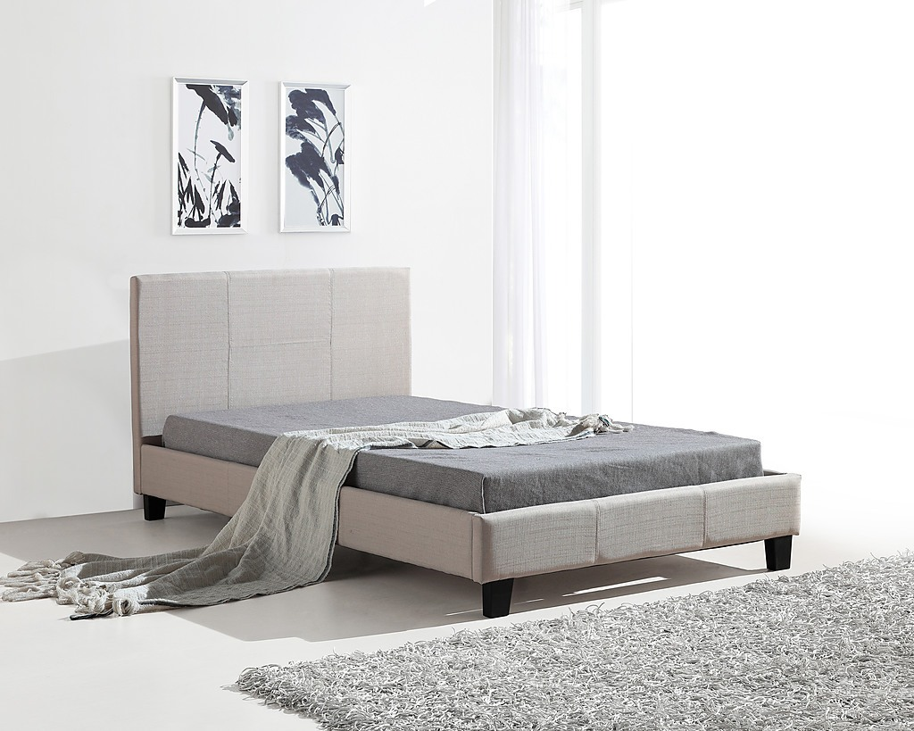King Single Bed Frame Beige Linen Fabric