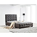 King Single Bed Frame Brown PU Leather