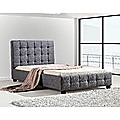 King Single Grey Linen Fabric Deluxe Bed Frame