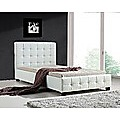 King Single White PU Leather Deluxe Bed Frame