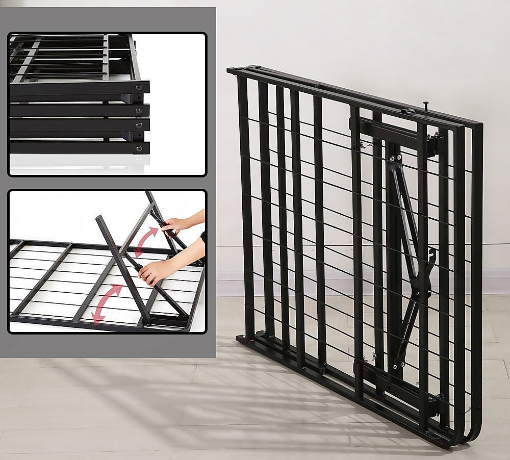 Queen Folding Metal Bed Frame Storage Platform Mattress