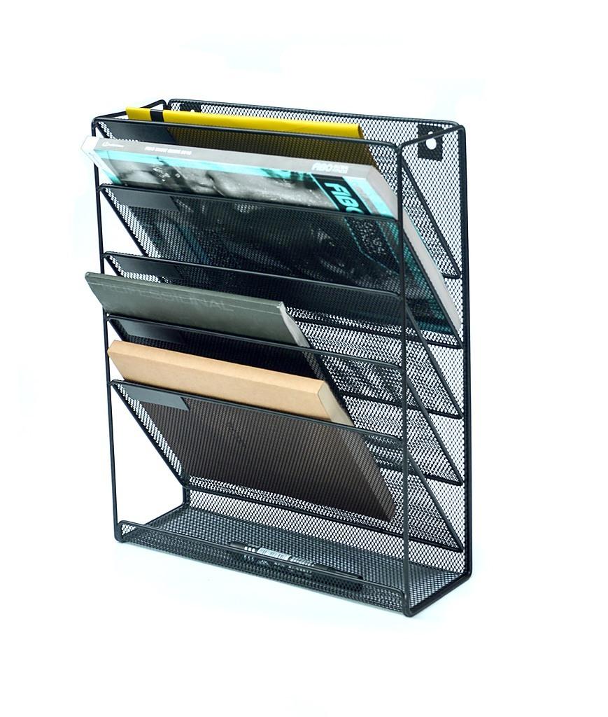 wall mount 6 pocket hanging file sorter organizer folder holder rack storage furniture. Black Bedroom Furniture Sets. Home Design Ideas