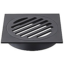 Square Black Floor Grate Drain 110 mm Full Brass Construction