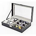 6+3 Grid Watch Sunglass Eyeglasses Display Box Case Storage Organizer PU Leather