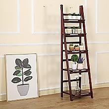 5 Tier Wooden Ladder Shelf Stand Storage Book Display Rack - Coffee