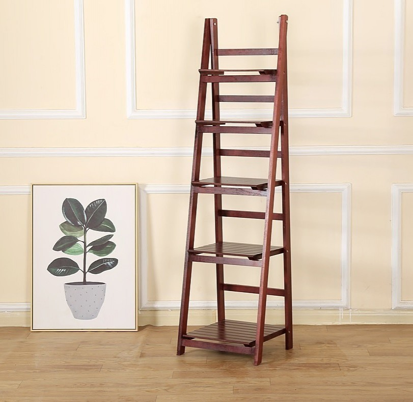 5 Tier Wooden Ladder Shelf Stand Storage Book Display Rack
