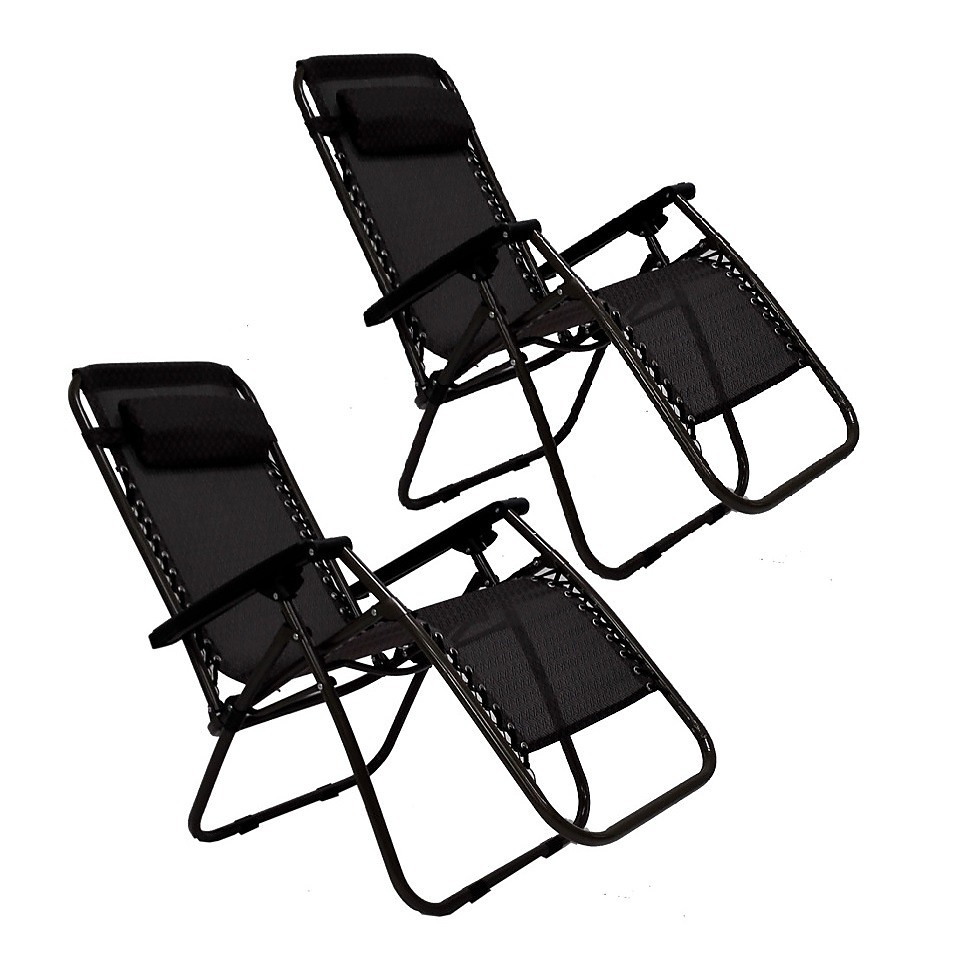 2 X Black Lounge Chairs Patio Outdoor Garden Yard Beach