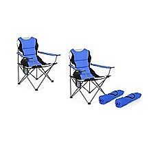 2x Folding Camping Arm Chairs Portable Outdoor Garden Fishing Tourer