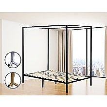 4 Four Poster Queen Bed Frame - Black