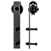 2.0m Black Sliding Barn Door Hardware