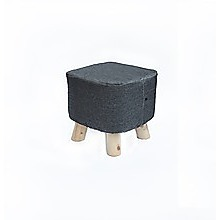 Charcoal Fabric Ottoman Foot Stool Rest Pouffe Wood Padded Seat Squircle