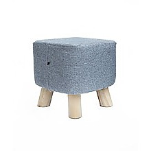 Grey Fabric Ottoman Foot Stool Rest Pouffe Wood Padded Seat  Squircle