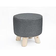 Charcoal Fabric Ottoman Foot Stool Rest Pouffe Wood Padded Seat Round
