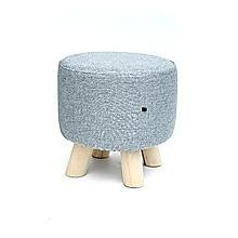 Grey Fabric Ottoman Foot Stool Rest Pouffe Wood Padded Seat Round