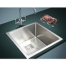 430x455mm Handmade 1.5mm Stainless Steel Sink with Square Waste