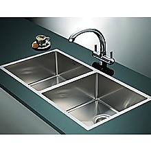 1.0mm Handmade Double Stainless Steel Sink with Waste - 865x440mm