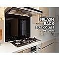 Toughened 90 x 70cm Black Glass Kitchen Splashback