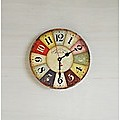 Large Colourful Wall Clock Kitchen  Office Retro Timepiece