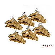 120pc Wooden Clothes Hangers Coat Pant Suit Coathangers Rack Wardrobe Wood